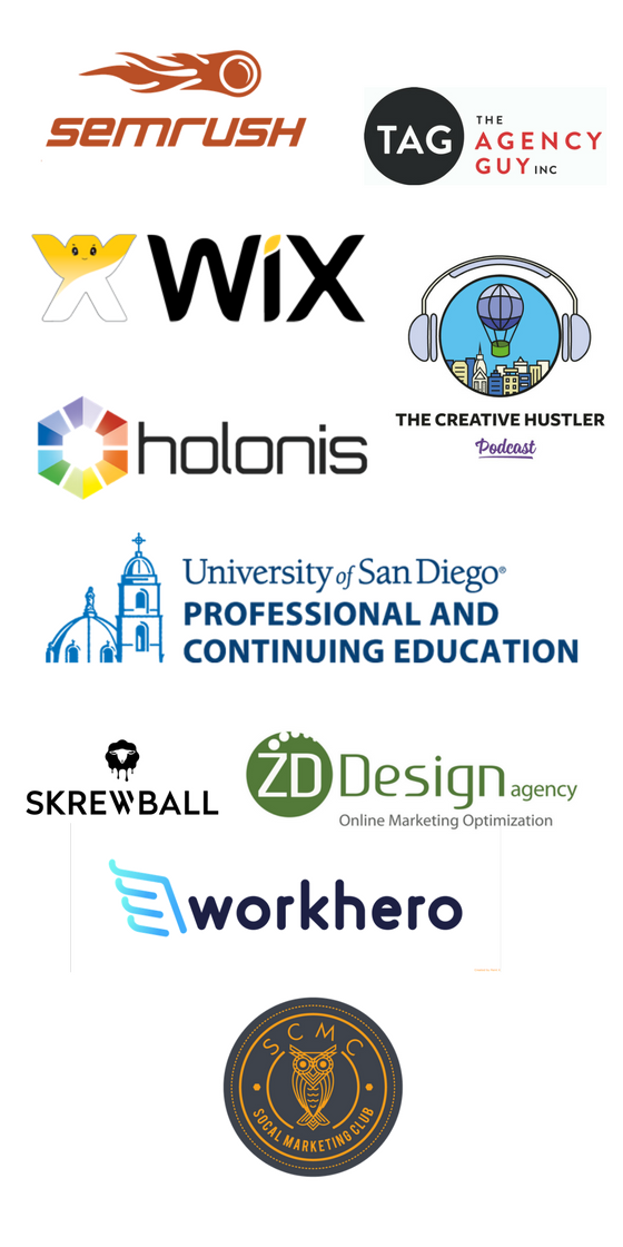SEMrush, The Agency Guy, Wix, Holonis, The Creative Hustler, University of San Diego, Skrewball, ZD Design, WorkHero