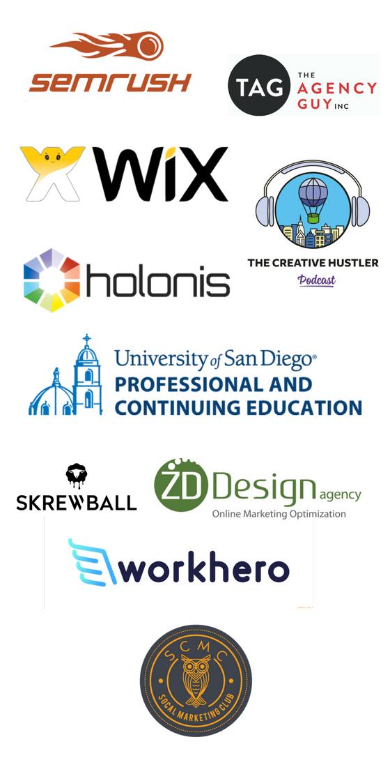 SEMrush, The Agency Guy, Wix, Holonis, The Creative Hustler, University of San Diego, Skrewball, ZD Design, WorkHero